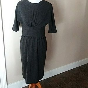 Barneys New York Made In Italy Grey Wool Dress